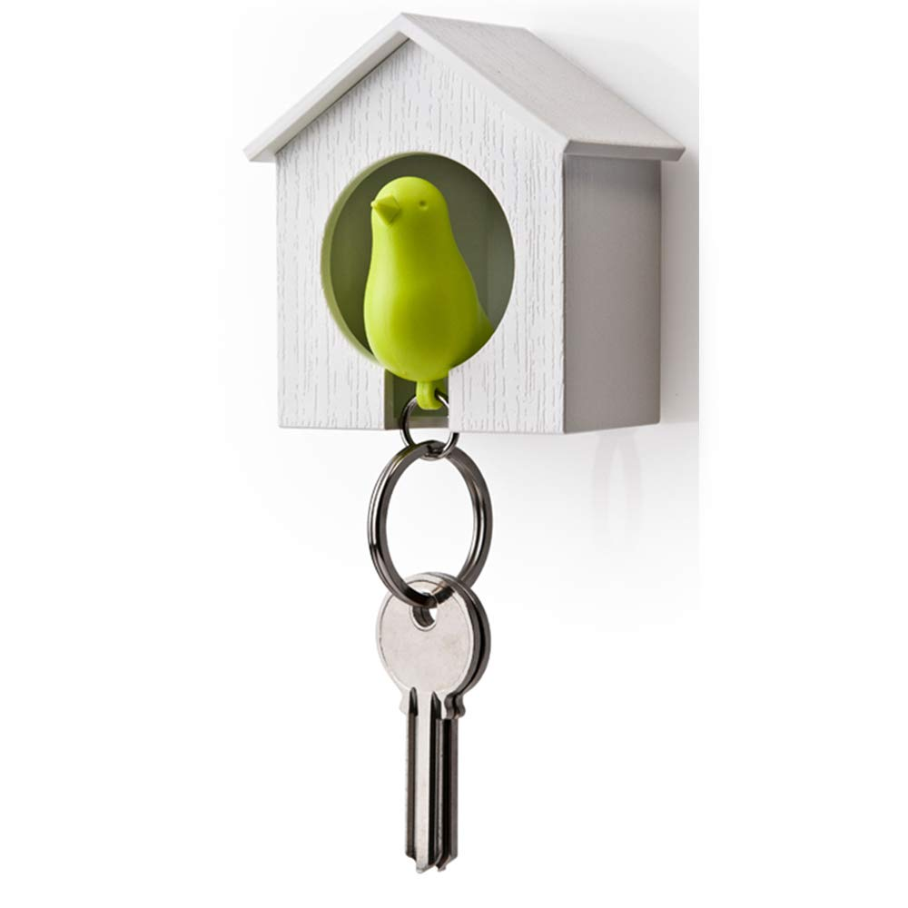 XSM Birdhouse Key Ring Hanging Single Bird House Keychain Wall Hook Holders Whistle Key Ring Cohabiting Bird Key Hanging Anti-lost Device(green)