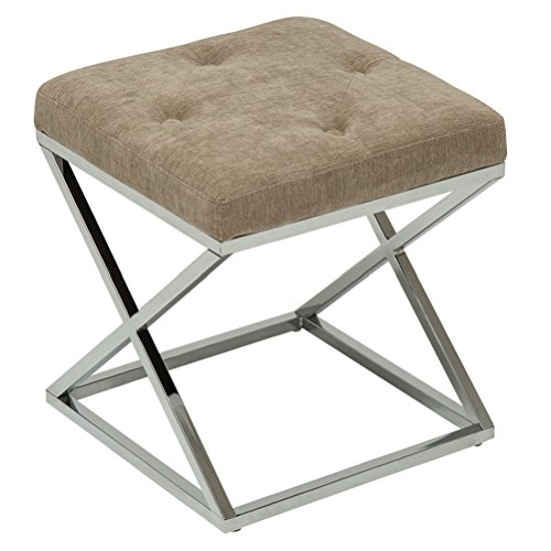 Fabric Upholstered Vanity - YongQiang Vanity Benches Ottoman Bench for Bedroom Metal Base Footrest Stool Upholstered Fabric Button Tufted Cushion Seat Single Size