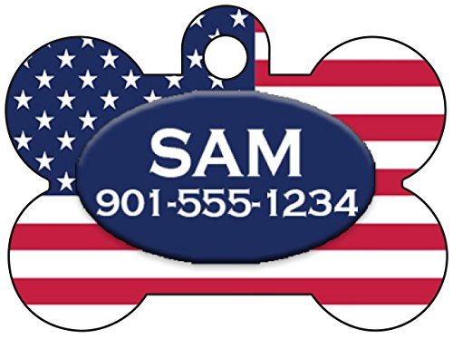 - Custom Patriotic Flag Pet Id Tag for Dogs & Cats Personalized w/ Your Pet's Name & Number (United States)