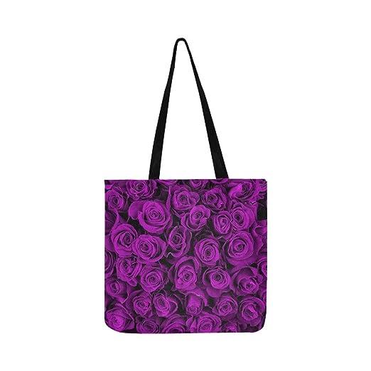 Hermosas rosas violetas bolsa de lona floral bolso de hombro ...