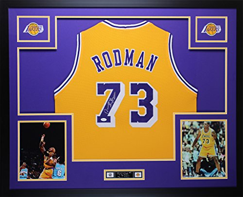 Signed Authentic Lakers Gold Jersey (Dennis Rodman Autographed Gold Lakers Jersey - Beautifully Matted and Framed - Hand Signed By Dennis Rodman and Certified Authentic by Auto JSA COA - Includes Certificate of Authenticity)