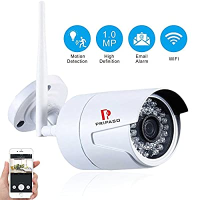 Wireless Security Camera, Pripaso 720p Wifi Bullet Camera Outdoor Waterproof Cctv IP Network Camera Support Motion Detection Alarm Video Recorder, Email Alert with Remote Playback by Pripaso