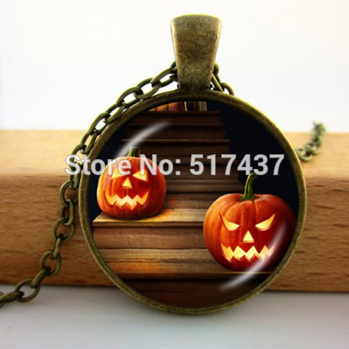 Pretty Lee 2015 New Glass Dome Necklace Vintage Pumpkin Halloween Pendant Pumpkin Jewelry Custom Necklace -