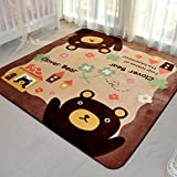 Cheap MeMoreCool Cute Cartoon Bear and House Design Home Decoration Area Rugs Environmental Anti-slip Bedroom/Living Room Carpet Yoga Mat Baby Crawling Mats Kids Play Mat Machine Washable Rugs 78.74 by 94.49 Inch