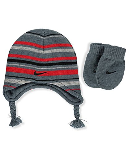 Nike Toddler Boys Knit Striped Hat & Mittens Set Armory Slate (6A2408-A45) / Red/Black