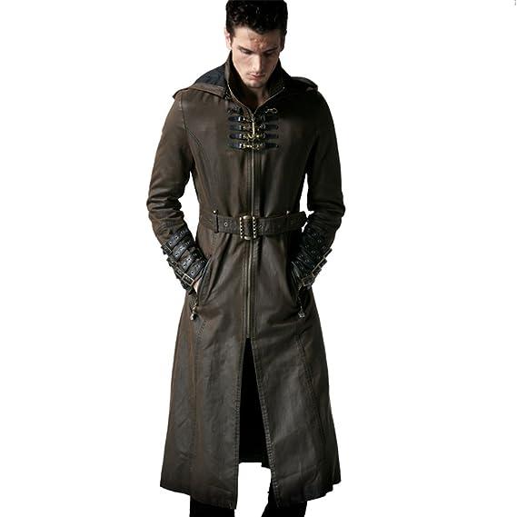 Peony Ghost Steampunk Man Coffee Dark Twill Long Coat Leather Loops Hooded Trench Coats Windbreaker Overcoat by Peony Ghost
