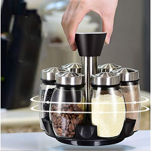 Herb & Spice Tools | 1 Set Glass Spice Jar Rotating Seasoning Box Salt Sugar Pepper Shaker Condiments Storage Bottle Holder Kitchen Gadget | By ATUTI by ATUTI