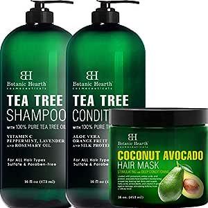 Botanic Hearth Tea Tree Shampoo and Conditioner Set and Coconut Avocado Hair Mask Bundle
