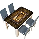 PINAFORE 100% Polyester Luxury Tablecloth Grungy Antique Wallpaper Background with Frame Table Cover
