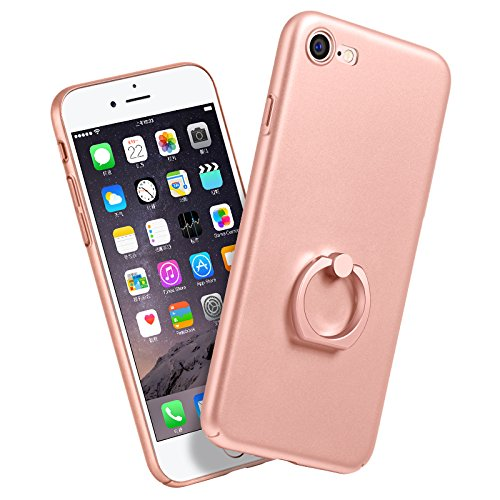 iPhone 7 Coque HOCO Pinhen i7 Ultra-Thin Cover Case Ring Stand Coque Housse Etui Shock-Absorption Protection Goutte Bumper pour Apple iPhone 7 4.7 Inch (i7 Stand Rose)