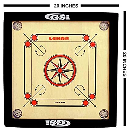 Gsi Shiny Gloss Finish Carrom Board for Kids and Children with Coins Striker and Boric Powder, Brown (Small 20 inch 4mm)