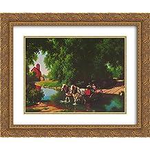 Big Moment 2x Matted 24x20 Gold Ornate Framed Art Print by Paul Detlefsen