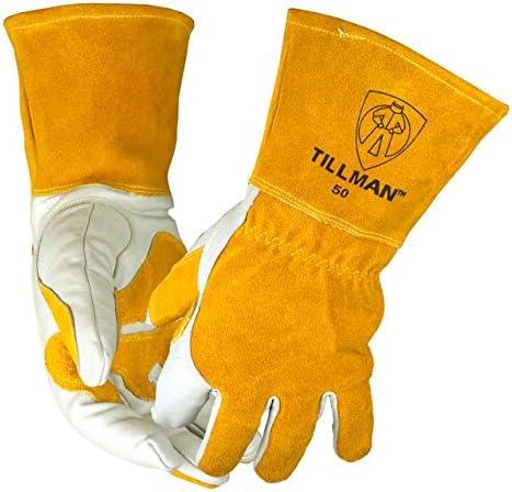 John Tillman and Co 50XL Top Grain Leather MIG GlovesSplit Leather Palm Reinforcements Split Leather Back Fleece Lining Seamless Forefinger and Elastic Back (Carded) X-Large (TIL50XL)