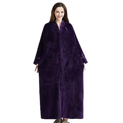 KXIN Bata De La Mujer Acolchada con Franela, Pijama Casero Cálido con Cremallera, Chaqueta