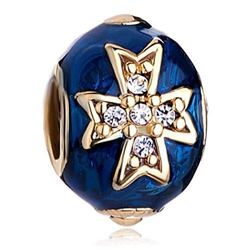 Pugster 22k Golden Sapphire Blue Drip Gum Celtic Cross Clear Crystal Faberge Egg Bead Fits Pandora Charm ()