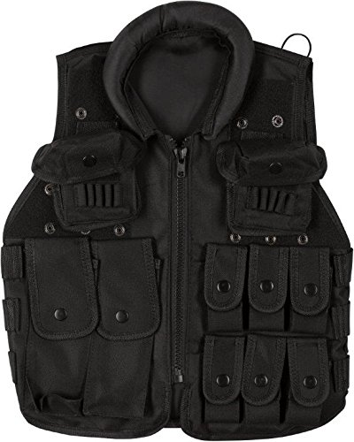 "Junior Tactical Vest - Airsoft & Paintball Accessory - Fits 47"" - 55"" Tall - By Modern Warrior (Black)"