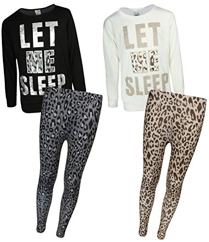Sweet & Sassy Girls' 4-Piece Pajama Legging Set (2 Full Sets) (4, Let Me ()