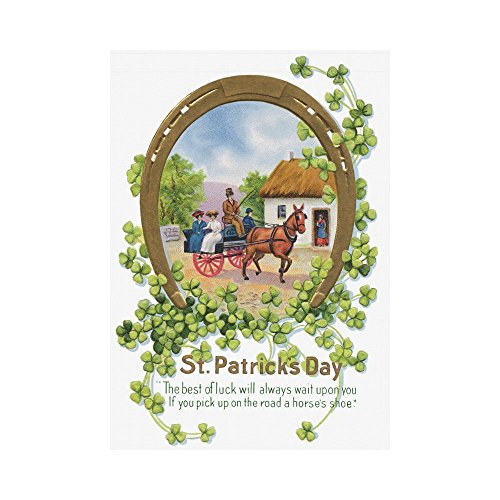 InterestPrint Vintage Lucky Shamrock Polyester Garden Flag Outdoor Banner 28 x 40 inch, St.Patrick's Day Decorative Large House Flags for Party Yard Home Decor