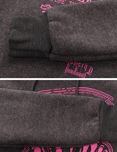 Sitengle Mujer Sudadera con Capucha Abrigo Largo Manga Larga Casual Sweatshirt Pullover Tops Dark Gris