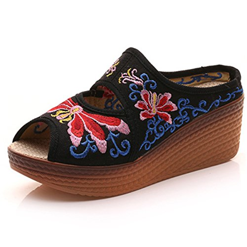 Qhome Women's Chinese Dragonfly Embroidery Comfortable Canvas Casual Mules Wedge Slippers Shoes