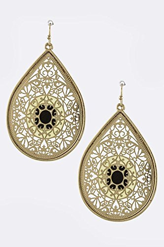 KARMAS CANVAS LASER CUT TEARDROP ORNATE EARRINGS (Black) (Laser Cut Teardrop Earring)