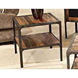 Emerald Home Laramie Medium Brown End Table with Solid Wood Top, Open Shelving, And Metal Frame Review