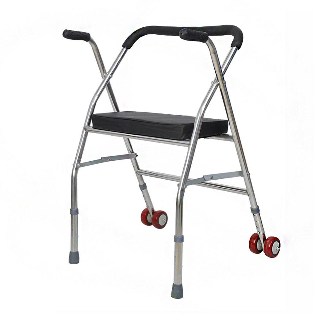 ローラーウォーカーステンレススチールシニア4フィート折りたたみ式松葉杖障害者プーリーシートチェア付きハンドプッシュ非常に使いやすい (色 : ブラック) B07DBXCTXX  ブラック