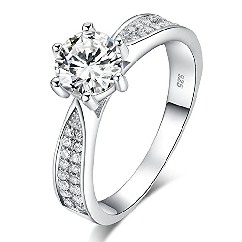 CARSINEL 1.5ct Cubic Zirconia Heart and Arrows 925 Sterling Silver Solitaire Wedding Engagement Ring Sizes 5 to 8 (925 Sterling Silver Solitaire)
