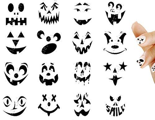 Halloween Scary Pumpkin Face Nail Art Decal Sticker Set
