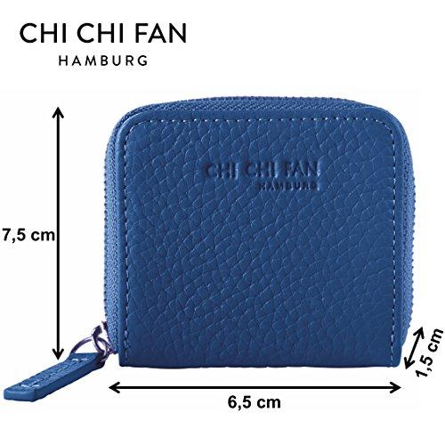 CHI CHI FAN Portemonnaie Mini - Petrol | Kleine Leder Geldbörse aus genarbtem Rindsleder | Top Qualität und stylish-klares Design treffen auf maximale Funktion und Sicherheit | 7,5x6,5x1,5cm Royal