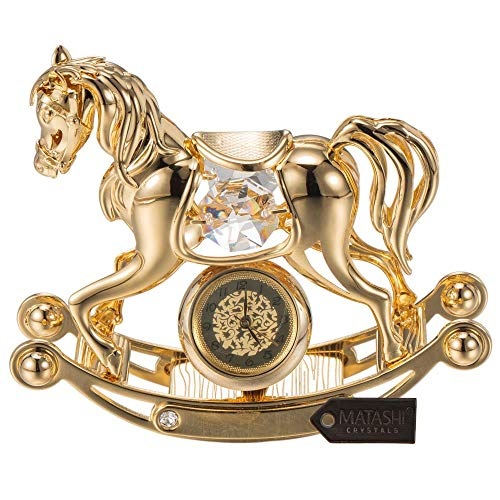 Matashi 24K Gold Plated Crystal Studded Rocking Horse Desk Clock Ornament (Horse Home Accents Rocking)