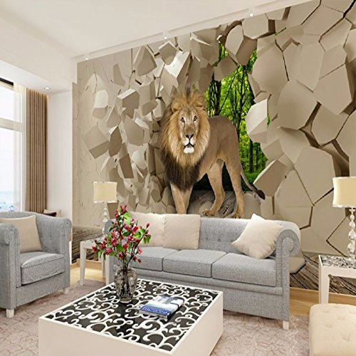 Wapel Lion from Stone Wall Background Graphic Murales Wallpaper for Boys Living Room Papel De Parede 3D Wall Papers Home Silk Cloth 400x280CM