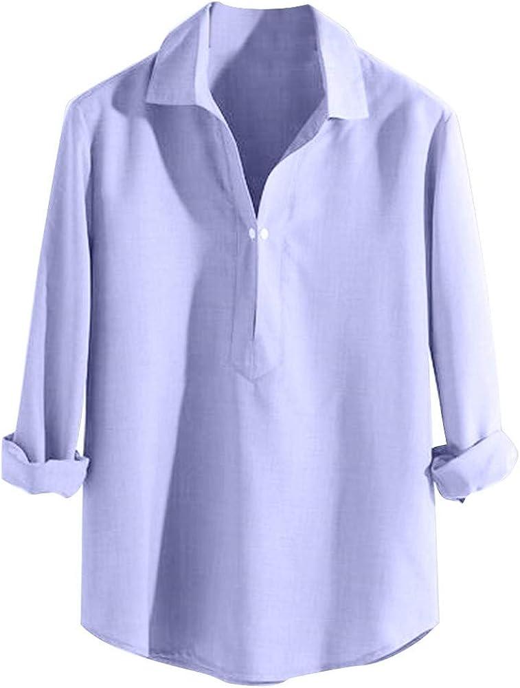 Camisa Hombre Cuello Lino Blusa Manga Larga Camisas Top Sin Cuello De Color Sólido Blusas Suelta Camisas De Trabajo Suave Cómodo Transpirable Arriba Negocios Chaqueta: Amazon.es: Ropa y accesorios