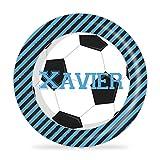 Soccer Plate - Blue Black Football Sports Melamine Personalized Name Plate