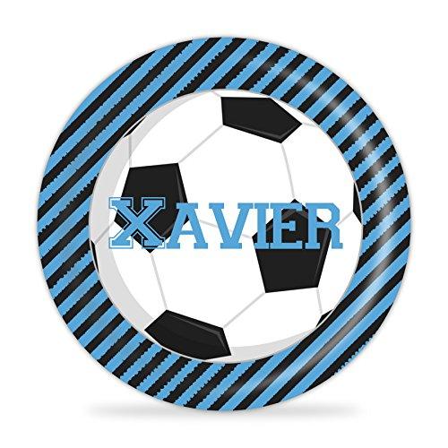 Soccer Plate - Blue Black Football Sports Melamine Personalized Name -
