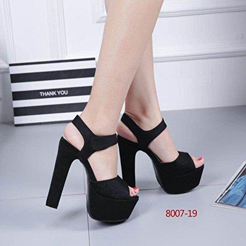 15 negro alto XiaoGao de de 8007 cm tacon sandalias de estilo 19 Nuevo R1RwqY7