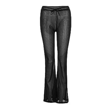 Pantalon Fluido Elástico Leggins Acampanados De Campana ...