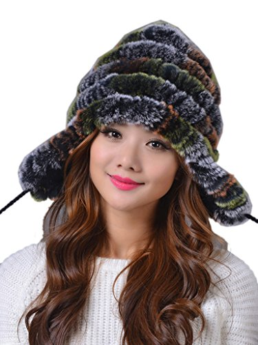 LITHER Women's Winter Warm Rex Rabbit Fur Hats Winter Ear Cap
