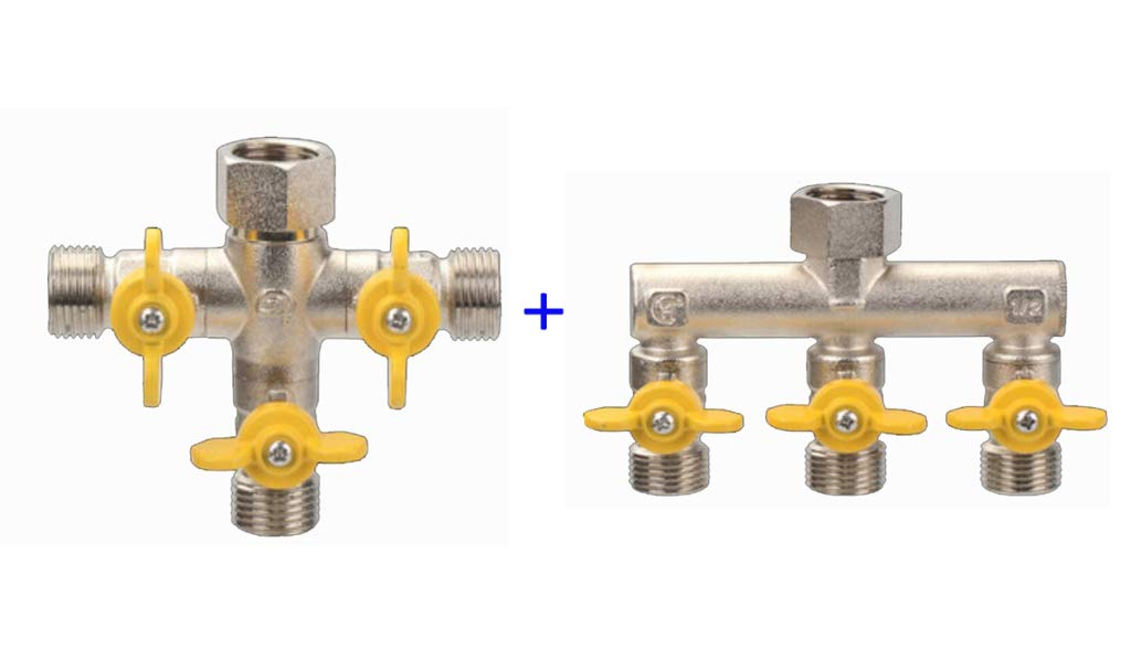 JLDN Garden Hose Splitter, Garden Hose Connector Adapter 3 Way Valves Easy to Open Valves for Garden and Home Life,Silver