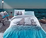 Bekata Maritime Blue Nautical Bedding, %100 Cotton Single/Twin Size Quilt/Duvet Cover Set, Sailing Boat Ships Sailor Themed, COMFORTER INCLUDED 4 PCS
