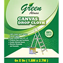Green Atmos 1 Pack- 6X9, 100% Cotton Heavy Duty Canvas Drop Cloth/Runner - ECO Friendly All Purpose Painting, Interior, REFURBISHING, Paint Shield, Floor, Furniture Protector, Cotton Duck Fabric