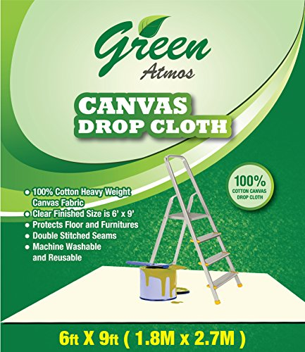 Floor Cloth Canvas - GREEN ATMOS 1 PACK- 6 X 9, 100% COTTON HEAVY DUTY CANVAS DROP CLOTH/RUNNER - ECO FRIENDLY ALL PURPOSE PAINTING/INTERIOR/REFURBISHING/CONTRACTOR'S CHOICE/PAINT SHIELD/FLOOR/FURNITURE PROTECTOR