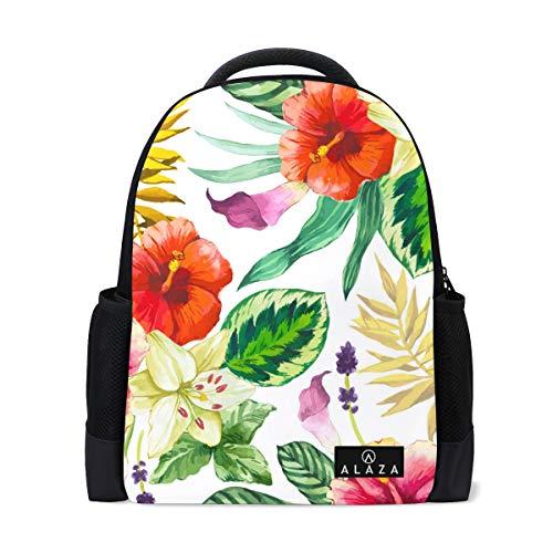 Travel Laptop Backpack Women Print Bookbags White Flower Green Center Watercolor School College Student Daypack for Girls Teenage