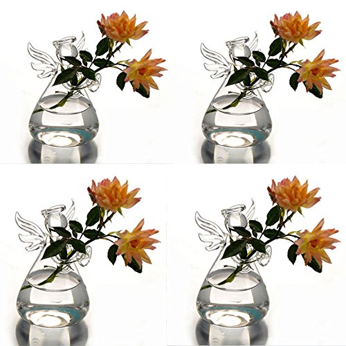 Syaglass Set of 4 Cute Clear Glass Angel Shape Flower Plant Hanging Vase Wedding Decor ()