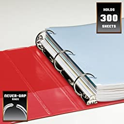 Wilson Jones Heavy Duty Round Ring View Binder with Extra Durable Hinge, 1.5 Inch, Customizable, Red (W363-34-1797)