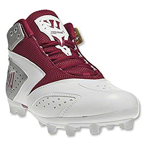 Warrior Lacrosse Men's WMSSM2RD Lacrosse Cleat,White/Red,8.5 M US by Warrior Sports