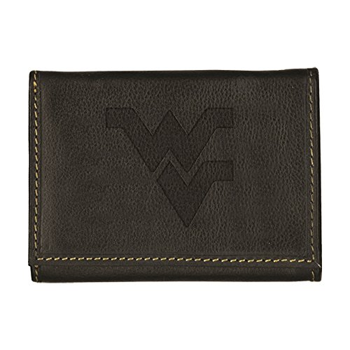 - West Virginia University Contrast Stitch Trifold Leather Wallet (Black)