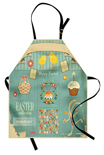 Ambesonne Easter Apron, Easter Themed Rabbit Ornamental Eggs Cupcake and Basket Spring Season Arrangement, Unisex Kitchen Bib with Adjustable Neck for Cooking Gardening, Adult Size, Pale - Apron Easter