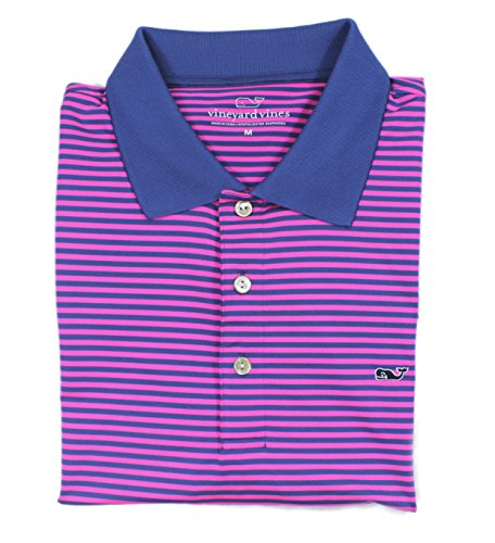Vineyard Vines Mens  Golf Polo Pink Blue Polyester Shirt