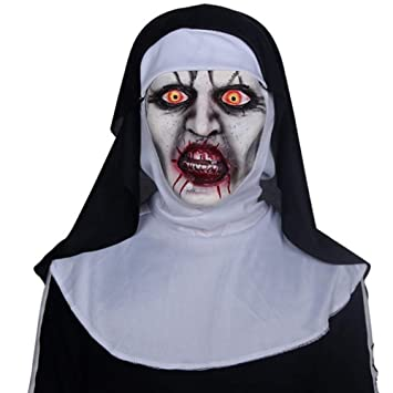WHFDRHWSJMJ Mascara Halloween Terror de LED Cosplay Scary Mask The Nun Horror Masks Máscara de Cosplay